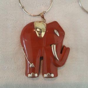 Lucky Jasper Sterling Elephant necklace